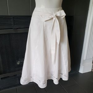 Flowy Cotton Cream Midi Skirt 8